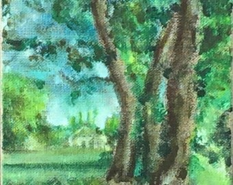 Art original Handmade Tree Painting, Burlap Canvas, Acrylic Paint, French Country Home Decor, Countryside forest, Farmhouse Chic wall decor
