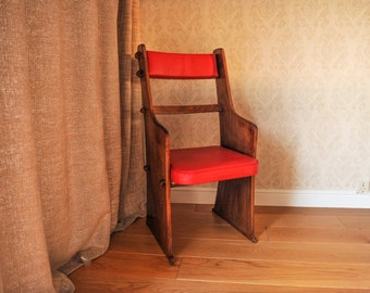Handmade Teak Pew Chairs with Red Upholstery in the style of the Arts & Crafts movement (Shipping is extra)
