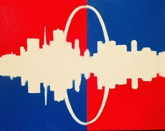 Cityscape - St. Louis Skyline - Custom Painted Canvas - Red - White - Blue Series