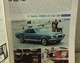 1968 Shelby GT350/500 Original Ad Intact in Complete February 1968 Issue Of Playboy Magazine