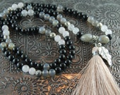 Shadow Mala- Agate, Rose Quartz, Labradorite-Pink Tassel-Yoga-Hippie-Beach
