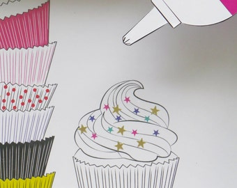 How to build a cupcake - 3D art print