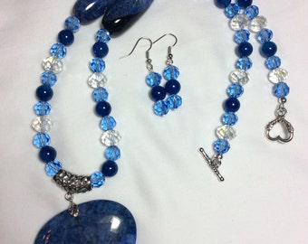 Blue Agate Heart Pendant Necklace with Earrings