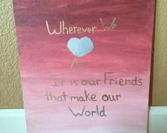 Friendship pink ombré quote