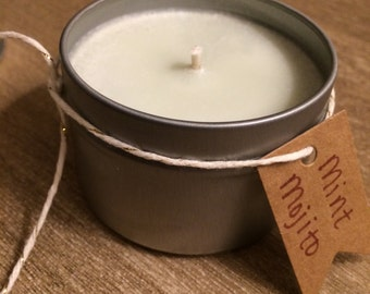 Mint Mojito Highly Scented All Natural Soy Candle Tin 4 oz