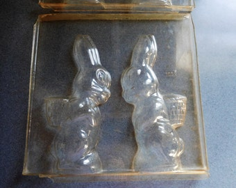 Rabbit with Basket on Back (Two Rabbits in One Mold) Vintage Plastic Candy Mold