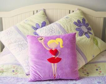 GIRL POWER 18 x 18 Plush Pillows- blonde ballerina