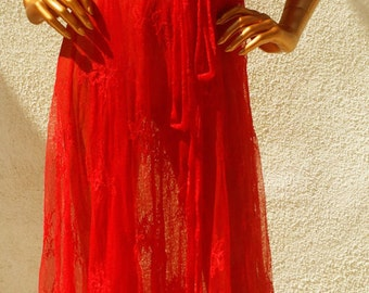 Red Lace Wrap Dress