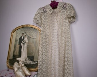 1920's Tambour lace coat, mid calf length
