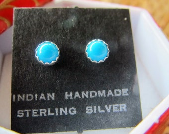 Turquoise in 4mm Sterling Studs