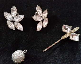 ABBYZTREASURES-Vintage Odds & Ends - Rhinestone earrings, Hair pins, Hat Pins n More