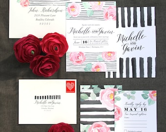 Floral Stripes Wedding Invitation Sample