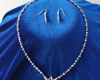 Purple fresh water pearl necklace and earring set
