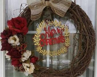 Christmas Floral Grapevine Wreath
