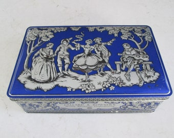 Vintage Blue and Silver Tin