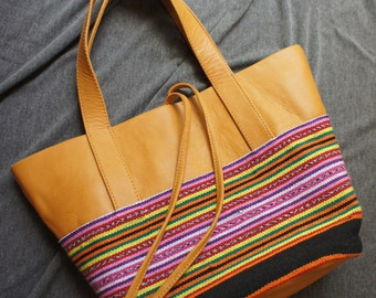 Soft goat leather + East Timor handwoven ikat tote bag