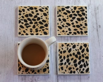Leopard Print Drink Coasters, Coaster, Coasters, Tile Coasters, Drink Coasters, Handmade Coasters, Coaster Set of 4, Drink Coaster Set