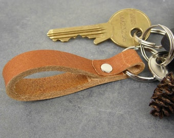 Leather keychain, Brown leather key fob,  Key holder, Small  Key ring , Handmade accessories