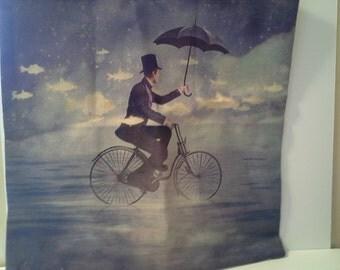 Bike, man, birds pillow case