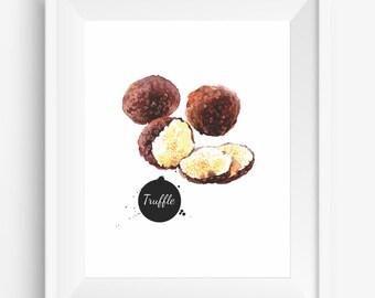 Truffles,Watercolor hand drawn,truffles print,natural food ,kitchen decor