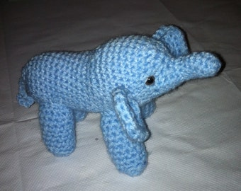 Amigurumi Elephant in Blue - Crochet Handmade Soft Toy, Stuffed Elephant, Toy Elephant, Blue