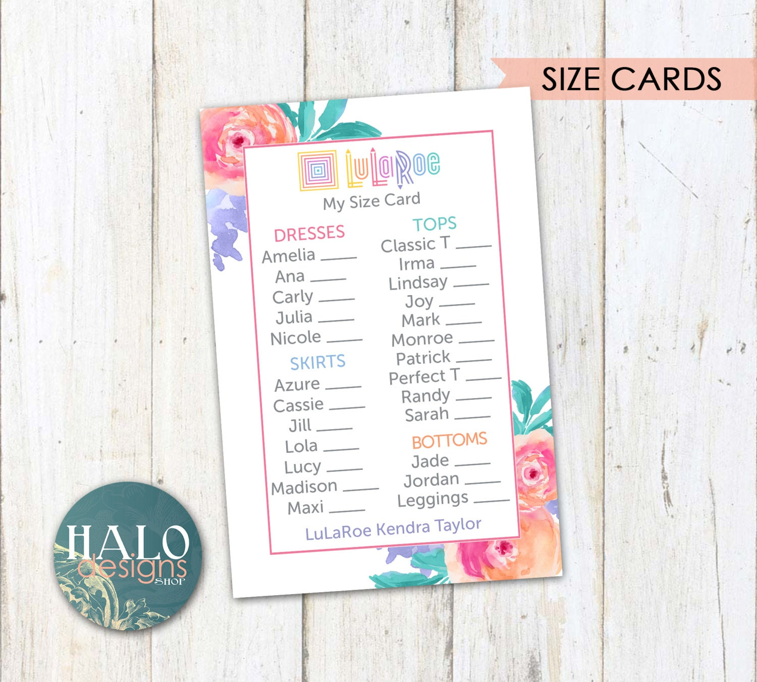 lularoe size cards pink flowers business cards by