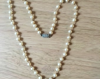 Vintage Faux Pearl Necklace single strand