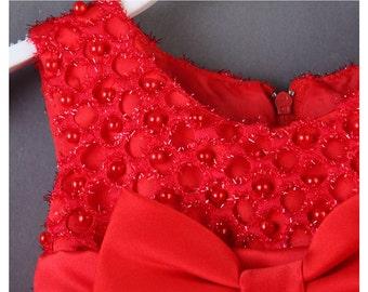 Red Flower Wedding Party Girls Princess Dress Toddler Vintage Dresses