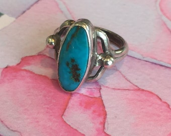 Turquoise Ring, Turquoise Silver Ring, Oval Ring, Blue Ring, Silve Jewelry