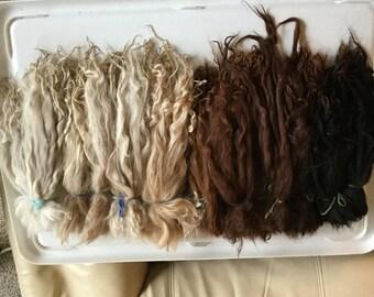 Suri Alpaca raw locks - premium fiber for doll hair, art dolls, spinning, felting