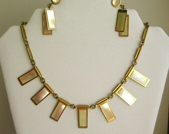 Mid Century Modern Necklace - Gold Tone with Mother of Pearl - Cleopatra Style