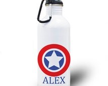 Personalized Water Bottle Party Favor Gift Party Favors, Spill Proof Personalized Stainless Steel Water Bottle 20oz Clip Star Captain White
