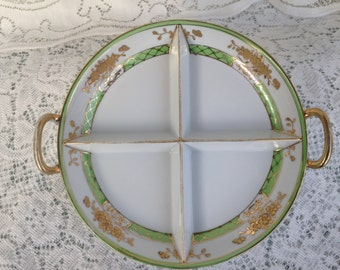 Nippon Hand Painted Divided Relish Dish 1911-1921
