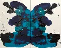 Blue Ink Blot Painting ink blot art wall decor blue turqoise navy black butterfly brain mind painting abstract art original two piece canvas