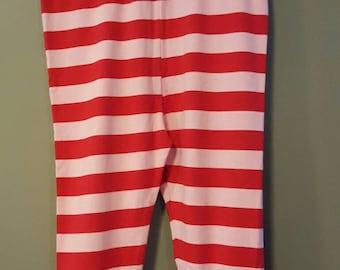 Size 8T - Red/pink stripe ruffle leggings