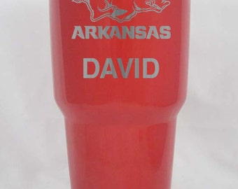 Arkansas Razorbacks   30 oz custom  RTIC personalized red stainless