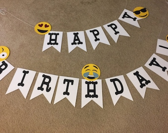 Emoji Happy Birthday Party Banner
