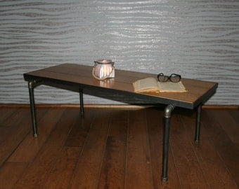 Industrial coffee table in oak and steel - lounge table - coffee table - coffee table - coffee table - table - design-