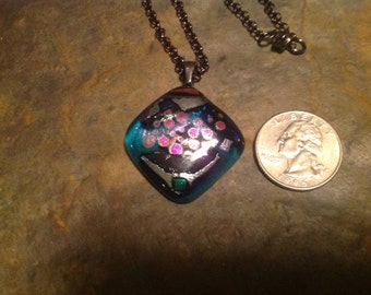 Diamond Shaped Turquoise Dichroic Necklace