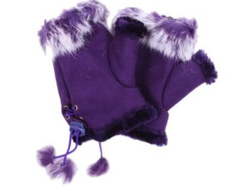 Warm Rabbit Fur Fingerless Mitten with Adjustable Lacing for Driving/Writing/Reading/Typing/Working Free US Shipping