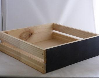 Large Square Slatted Wood Box / Hamper