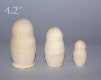 Blank Unpainted Matryoshka Nesting Doll 3 Pieces Set, Set of three Blank Nesting dolls