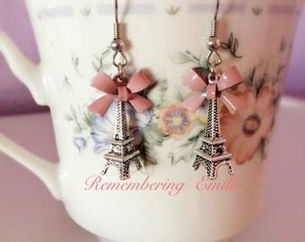 Eiffel tower bow earrings silver purple Love Romantic Jewelry Paris