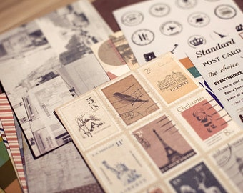 12sheet vintage stamp sticker