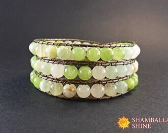 Onyx wrap bracelet Green onyx gemstone beads Light green bracelet Beaded gemstone jewelry Women onyx bracelet Gemstone beaded amulet