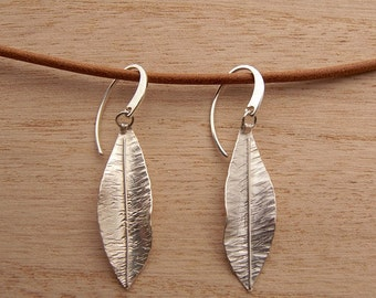 Dangle leaf earrings, silver sterling, handmade earrings, gift for her, botanical jewelry