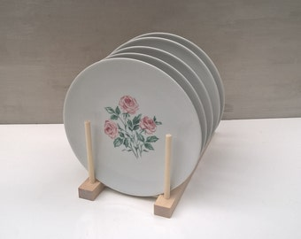 Salad plates with pink roses by Kenmark China, set of 5, discontinued 1972