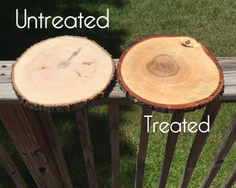 Set of 15! Treated wood slices! Wood centerpieces, wood slabs, rustic wedding decor, wood slab centerpieces, wood slice centerpieces!
