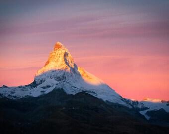 Matterhorn at Sunset, Switzerland, Landscape and Travel Photography - Fine Art Print by Meleah Reardon
