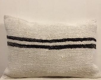 Kilim pillow,hemp pillow case,naturel pillow case,white pillow cover,stripe pillow case,handmade vintage hemp pillow cover